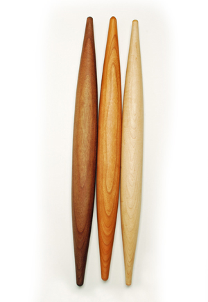 Vermont Rolling Pins wood samples in maple, cherry and walnut